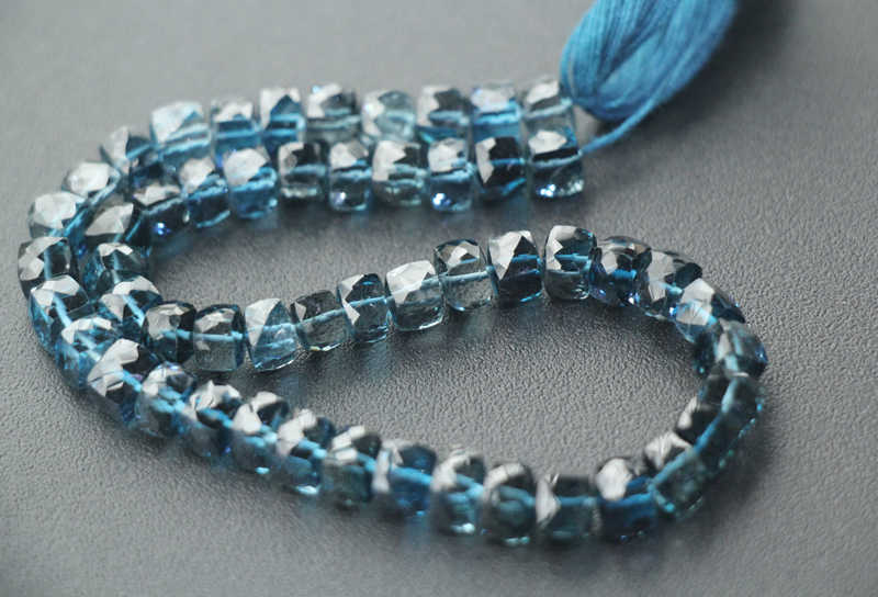 AA loose beads LONDON BLUE TOPAZ SQUARE faceted  5-6mm  25cm for DIY jewelry making FPPJ wholesale beads nature