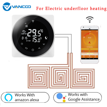 LCD Touch Screen Electric Underfloor Heating Thermostat Backlight WIFI Temperature Controller 16A Works with Alexa Google Home