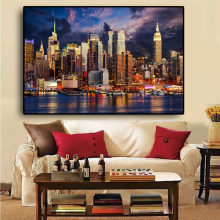 Sunset Cloud New York City Manhattan Building Canvas Painting Posters And Prints Scandinavian Wall Art Picture For Living Room(China)