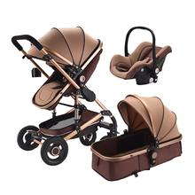 Safety Baby Stroller with Car Seat 3 in 1 High Landscape Stroller Newborn Folding Carriage Lying and Sleep Pushchair