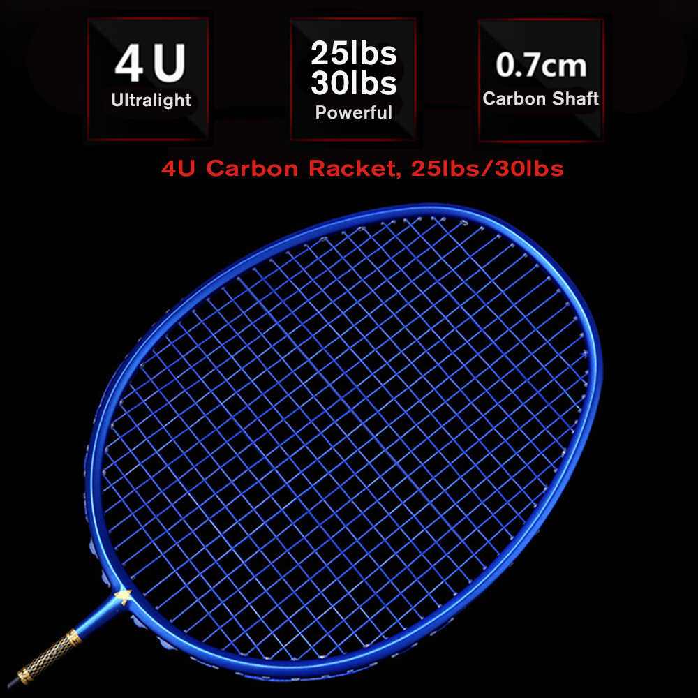Ultralight 4U Strung Badminton Racket Professional 25lb 30lb  Carbon Badminton Racquet  With String and carry case
