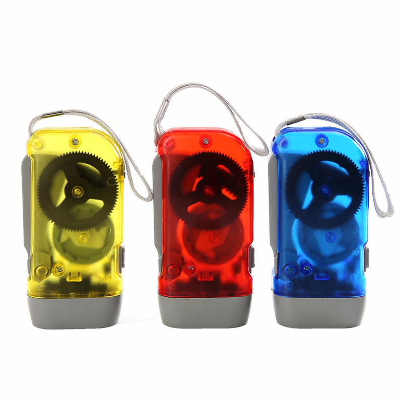 ABS Emergency Mini Self-charging Hand Pressing 3 LED Hand Crank Flashlight Camping Lights Manual Generator Torch Light
