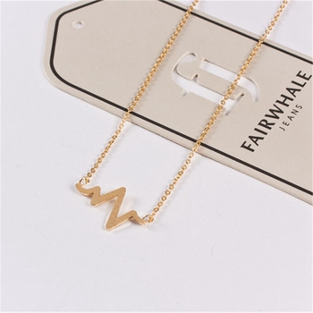 Minimalist Heart Beat Wave Necklace Stainless Steel Rose Gold Color Choker Collier Wavey Necklaces Jewelry Valentine's Day Gifts image