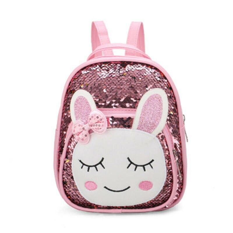 Niño chico niños niñas de dibujos animados de animales lentejuelas mochila bolsa de viaje al aire libre