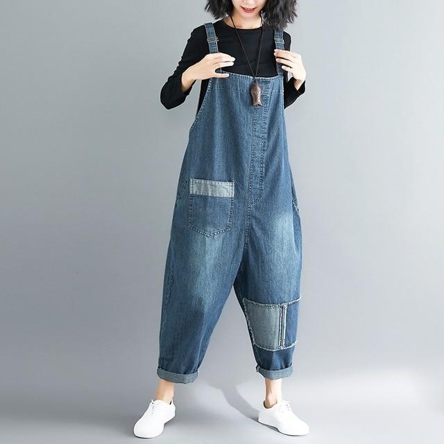 VeryYu Women Denim Plus Size Loose Patch Wide Leg Casual Overalls Jeans Fashion  VerYYu