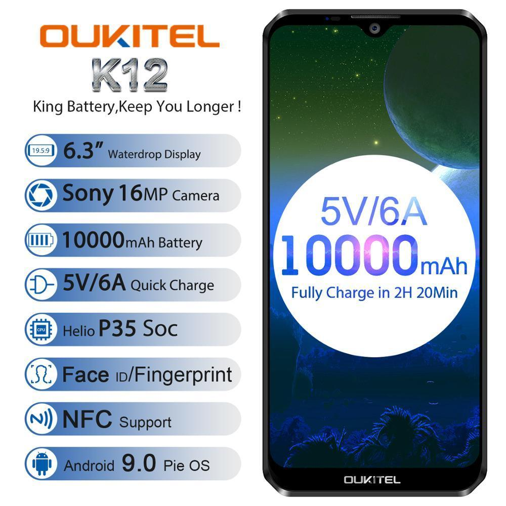 OUKITEL K12 6.3'' Water screen 6GB 64GB NFC 10000mAh android 9.0 mobile phone MT6765 Octa Core Quick Charge 16.0mp 4G smartphone
