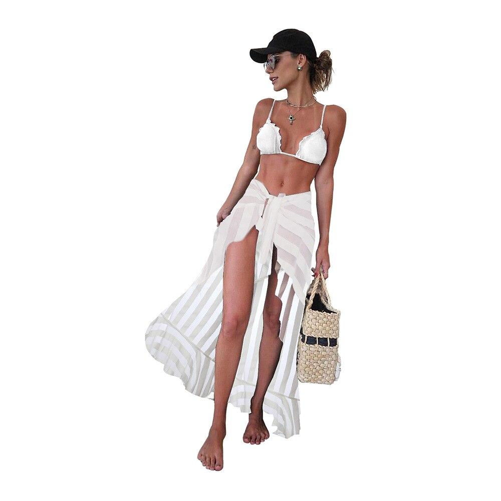 Bali Holiday Beach Skirt Outdoor Guo Sha Long Skirts High-waisted Lace-up Non-symmetrical Stripes Beach Skirt