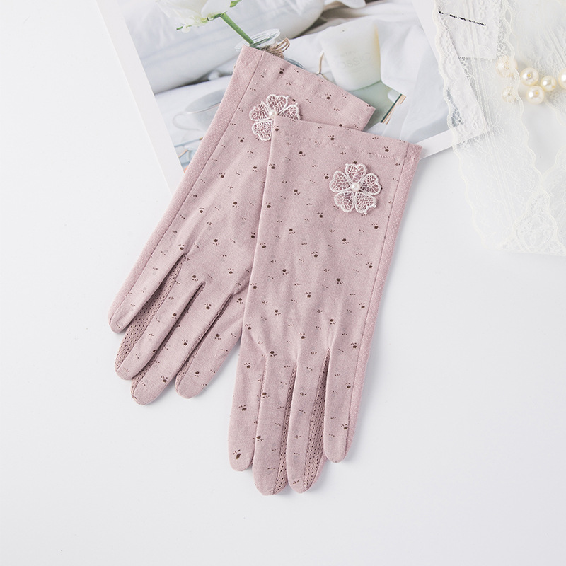 Summer Lace Sunscreen Gloves Touch Screen Grey UV Protection Women Driving Slip-resistant Cotton Female Anti Sun Driving Gloves