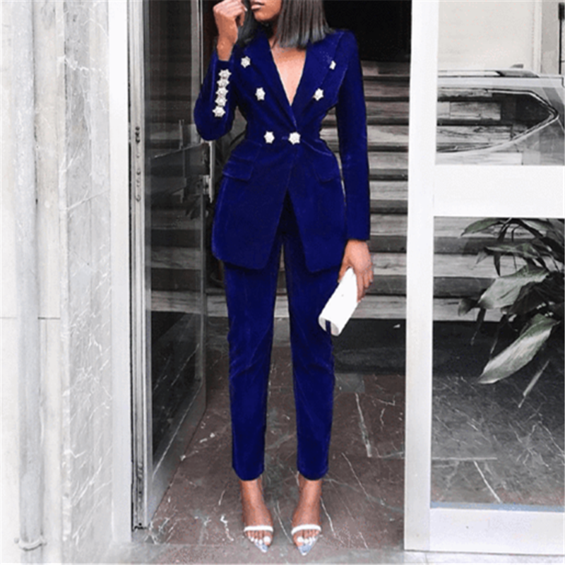Yesexy 2020 Elegant Velvet Double Breasted Women Blazer Suit Autumn Winter Long Sleeve 2pcs Office Lady Women Suit Set MQ272