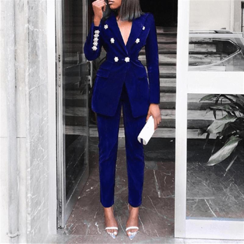 Yesexy 2020 Elegant Velvet Double Breasted Women Blazer Suit Autumn Winter Long Sleeve 2pcs Office Lady Women Suit Set MQ272
