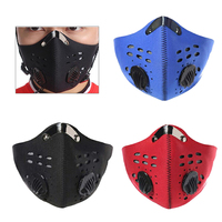 Algodão pm2.5 anti máscara haze válvula de respiração anti poeira máscara boca filtro de carvão ativado respirador boca abafado máscara preta rosto|Másc.| |  -