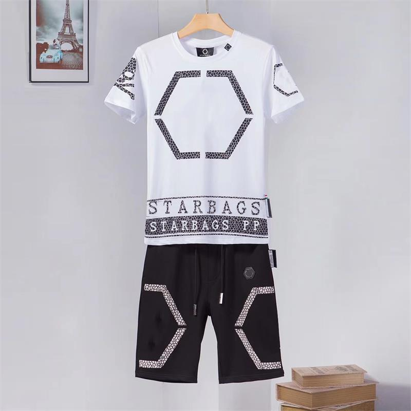 Starbag PP 2020 Summer Fashion New Diamond Skull Screen Cool Personality Short Sleeve T-shirt Shorts Men's Suit Original High Qp