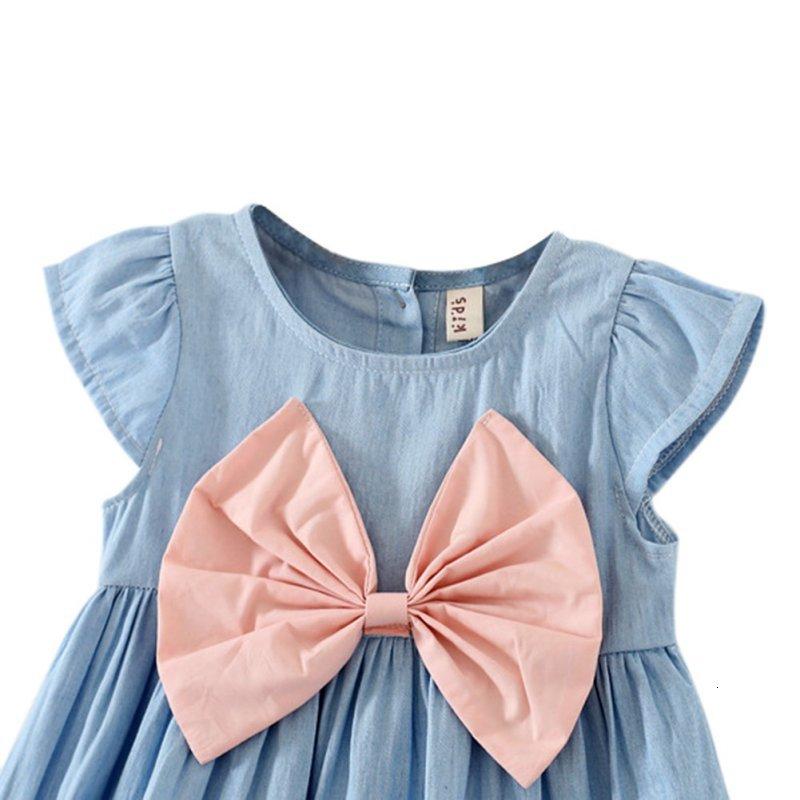 H877ed3f70cd14699a02d954a64320f13P Girls Dress 2018 Summer Explosion Solid Color Denim Dress Cartoon Polka Dot Bow Cartoon Bunny Satchel Korean Baby Cute Dress