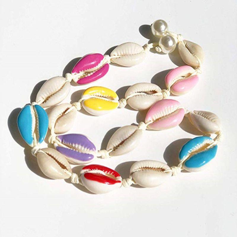 Nouveau collier de coquille naturelle à la main corde artificielle perle plage colliers femmes bijoux cadeaux