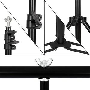 Image 5 - 写真撮影のt型の背景の背景スタンド調節可能なサポートシステム写真不織布モスリンの背景
