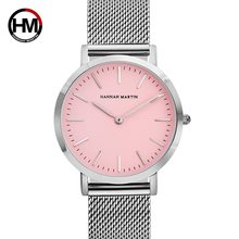 2019 HM Quartz Wrist Dress Women Watches Silver strap Ladies Watch Stainless Steel Clock Pink dial Casual Waterproof Watch Women(China)