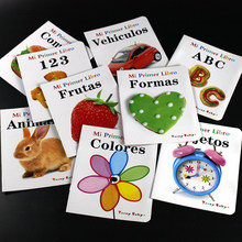 9Pcs/Set 3-8 Years Old Spanish Animal/fruit/traffic Book For Children Baby Stories Learn Storybook Picture Kids Educational Book