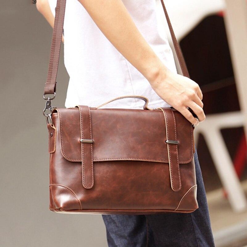Men's Vintage Real Crazy Horse Leather Briefcase Messenger Shoulder Bags Portfolio Laptop Bag Case Office Handbag
