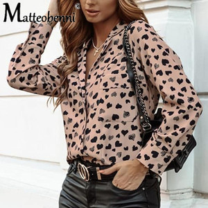 2020 Autumn Spring Heart Point Print Women Blouse Shirt Ladies Long Sleeve Elegant Office Blouse Female Button Pocket Women Tops
