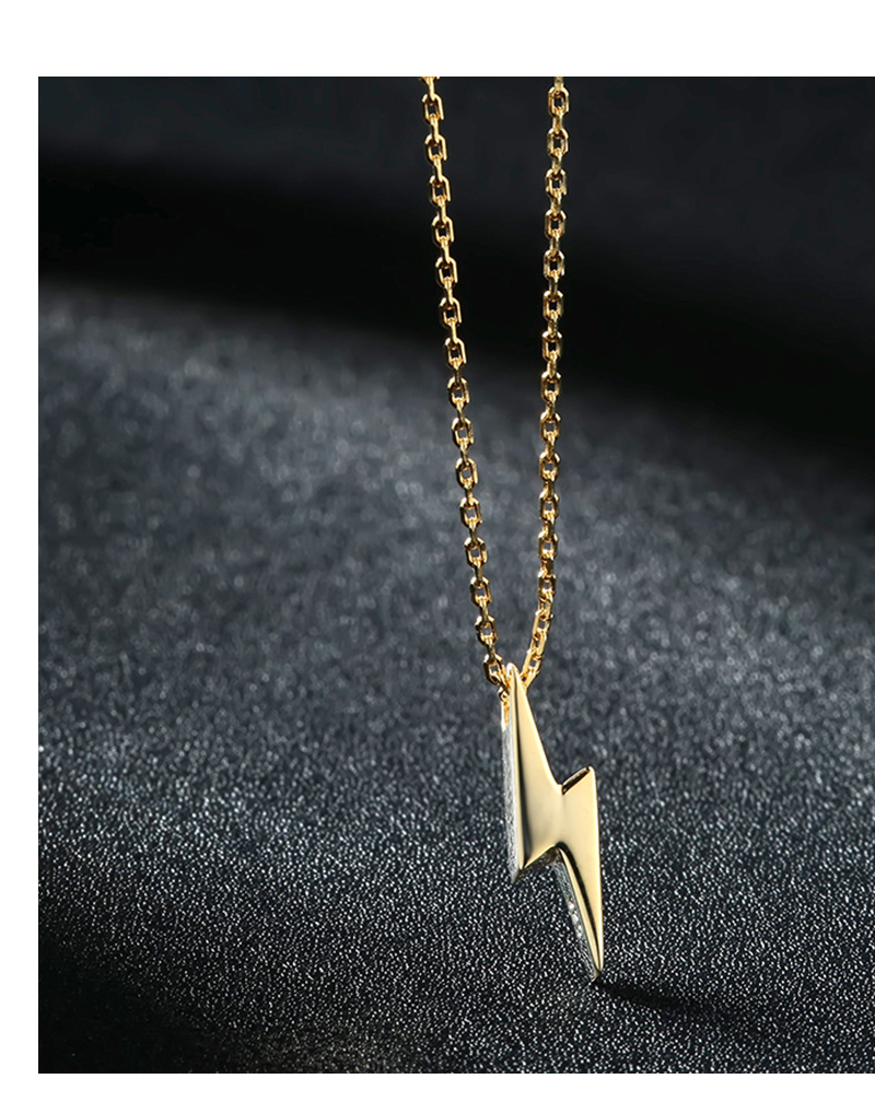 H877f538f3f5e42dba73890fd8cca6b30i Dorado 925 Sterling Silver Necklaces Golden Silver Lightning Pendant Necklaces Fine Jewelry Gift Birthday  For Women