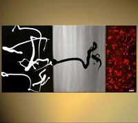 Hand Paint Acrylic Painting On Canvas Black Gray Red Beautiful Abstract Art Big Canvas Oil Painting Canvas Handmade