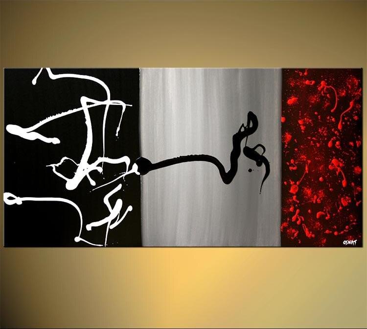 Peinture à la main peinture acrylique sur toile noir gris rouge bel Art abstrait grande toile peinture à l'huile toile à la main
