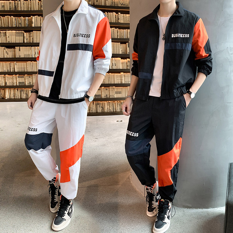 2019 Autumn Men's New Style Set INS Trend Cool Men'S Wear Japanese-style Teenager Coat Skinny Pants A Set