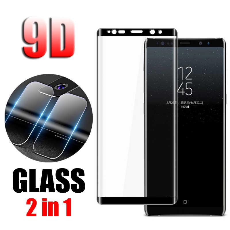 2 في 1 عودة كاميرا عدسة فيلم 9D الزجاج المقسى زجاج واقي لسامسونج غالاكسي ملاحظة 8 Note8 HD كاميرا عدسة واقي للشاشة