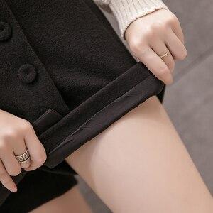 Image 5 - 2020 neue Mode einreiher Plaid Shorts Röcke Frauen Koreanische Vintage Woolen Shorts Herbst Winter Beiläufige Culottes