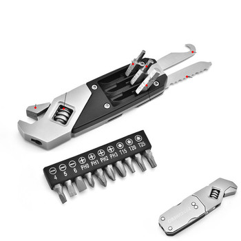 17 in 1 stainless steel adjustable wrench foldable edc multi tool multifunctional wrench with screwdriver camping equipment