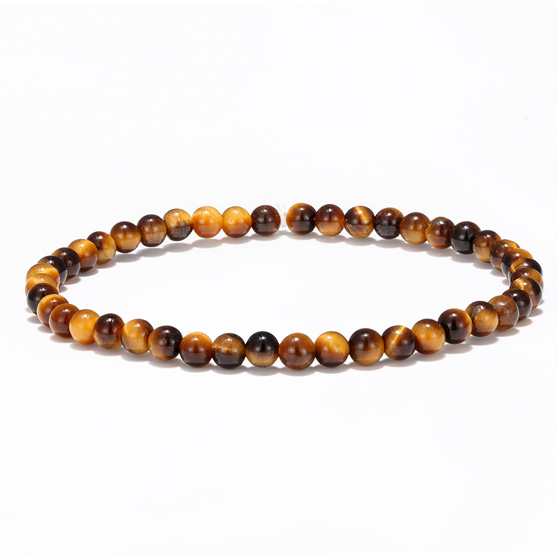 4mm small beads bracelet men and women natural tiger eye lapis lazuli jewelry bracelet