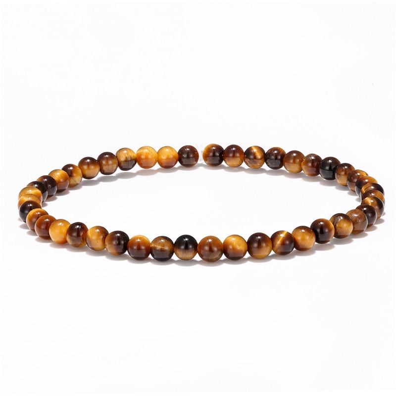 4mm small beads bracelet men and women natural tiger eye lapis lazuli jewelry bracelet