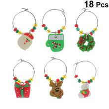 18PCS Christmas Themed PVC Glass Charms Wine Goblet Rings With Wire Hoops Drink Markers Party Supplies For Decoration