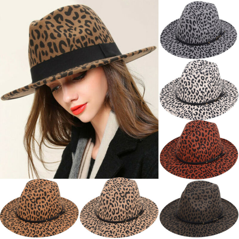 Fashion Men Women Wool Blend Hard Felt Panama Hat Fedora Trilby Hats <font><b>Gangster</b></font> Caps Wide Brim image