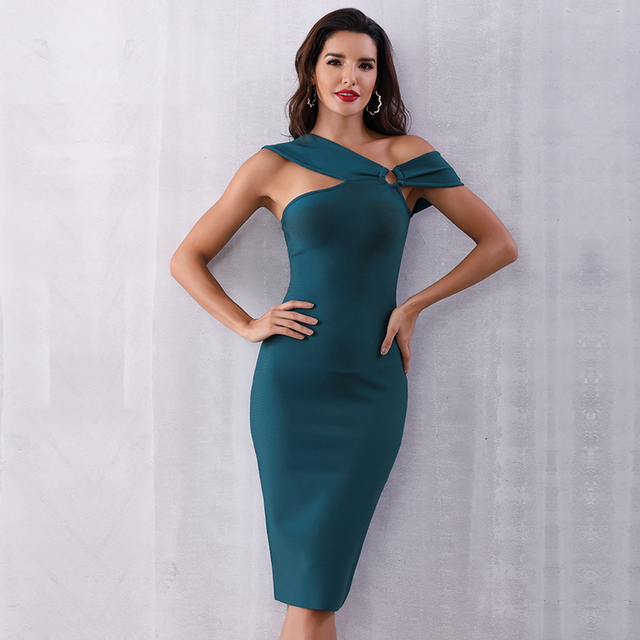 2020 Summer Elegant Party Bodycon Bandage Dress Women Green Sleeveless One Shoulder Sexy Night Club Female Vestidos Clothing