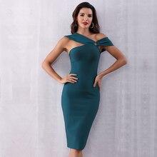 2020 letnia elegancka bandażowa dopasowana opaska na imprezy sukienka damska zielona bez rękawów jedno ramię Sexy Night Club odzież damska Vestidos