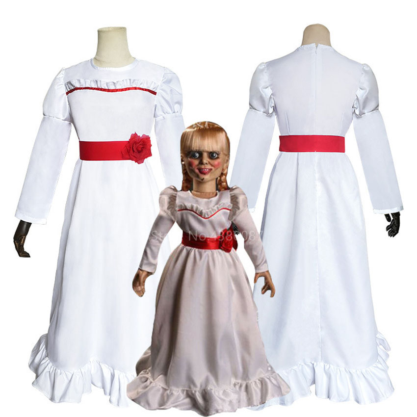 Annabelle Costume Adult Creepy Doll Scary Halloween Fancy Dress
