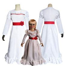 Cadılar bayramı Conjuring bebek Annabelle Cosplay kostüm kadınlar için kız sahne performansı korku korkunç süslü elbise maske ile kıyafet