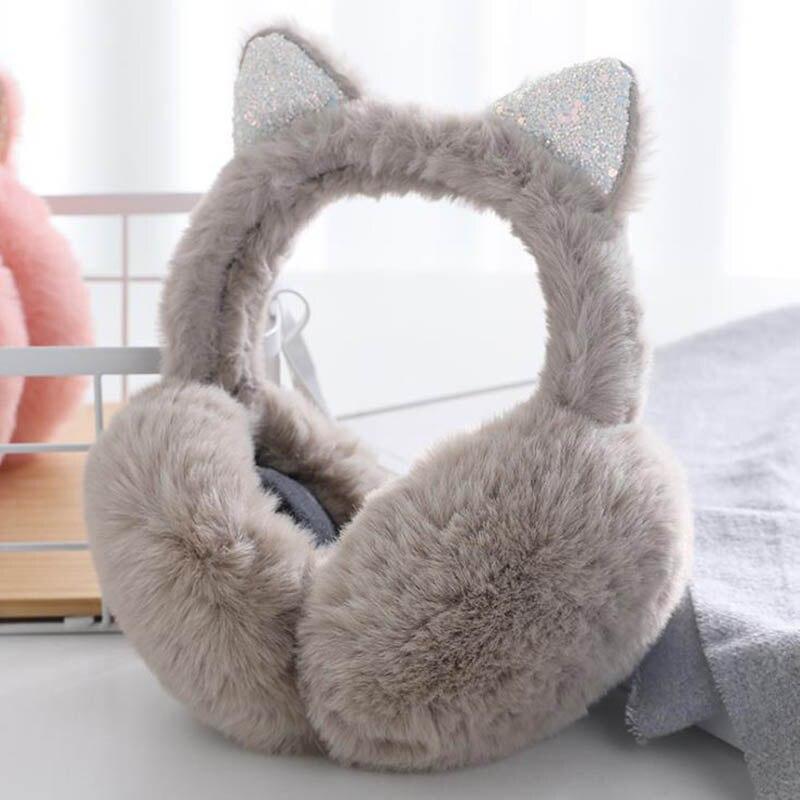Calymel Cat Sequin Winter Fluffy  Cute Earmuffs Women Earcap Ear Warmer Cover Earmuffs Fashion Cat Ears Shiny Earmuffs Gifts