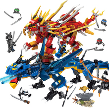 цена на Ninjagoed Robots Friends Movie Series Flying Mecha Fire Dragon Building Blocks Bricks Toys Children Model Compatible with Ninja
