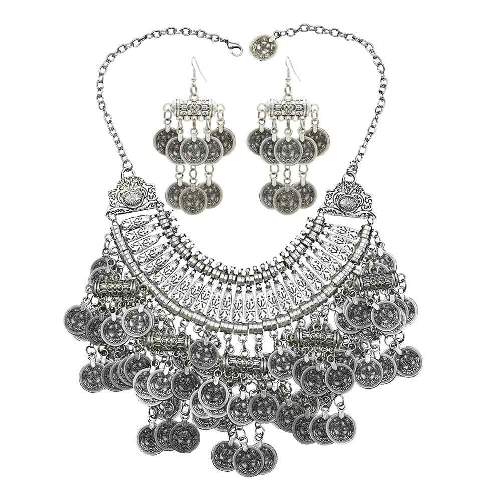 Turkey Vintage Silver Big Coin Statement Jhumka Earrings & Necklace Jewelry Sets for Women Boho Indian Afghan Beaded Necklace