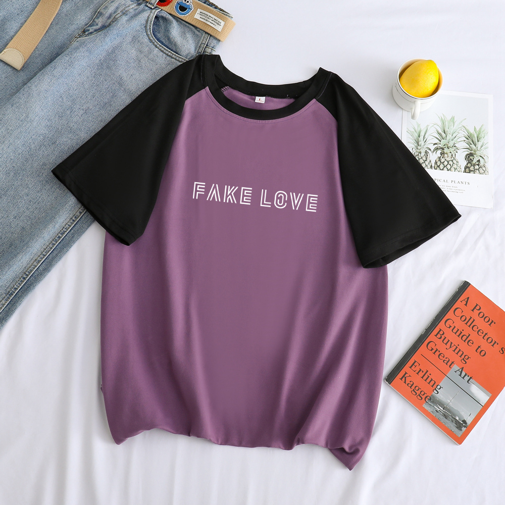 FAKE LOVE Letter Print T Shirt Men Summer New Korean Bangtan Boys Kpop Tops Casual Streetwear Loose Spell Color Splicing T-shirt(China)