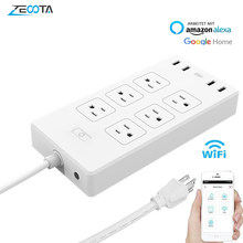 WiFi Smart Power Strip US Surge Protector with 6 Socket 4 USB Port Smart Home Control Switch Compatible Alexa Google Assistant(China)