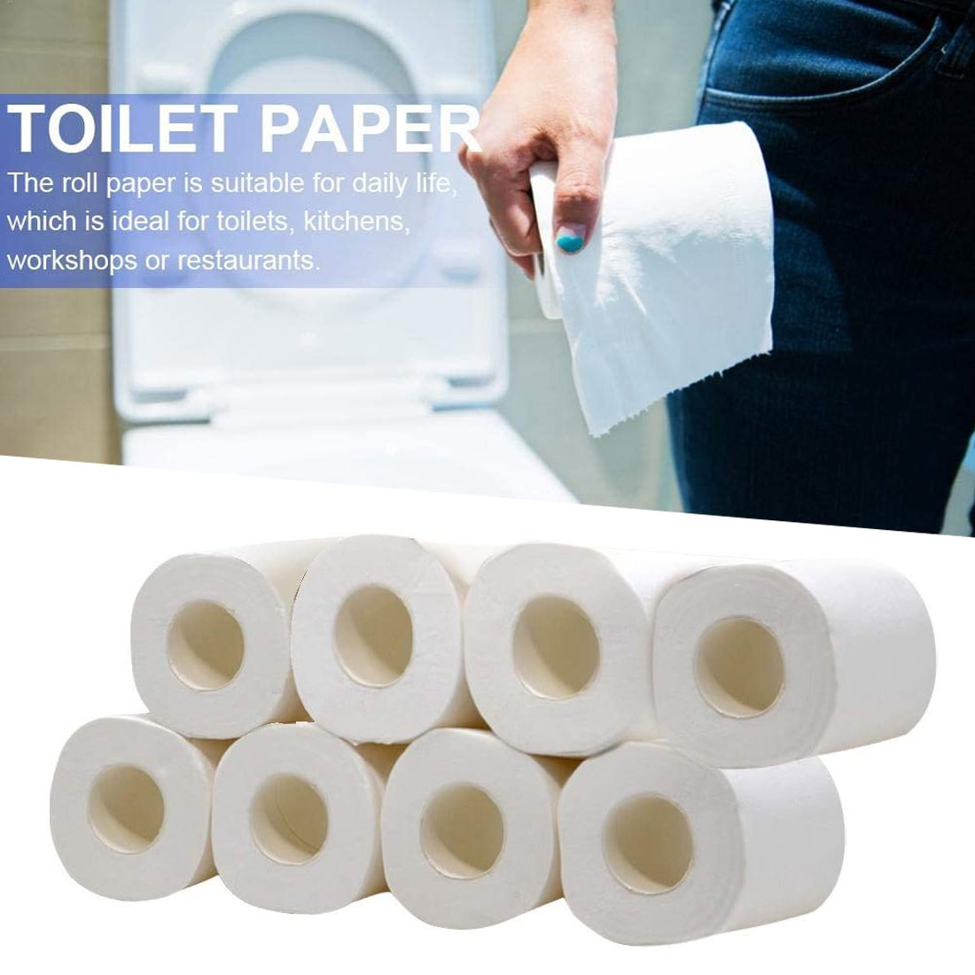 8pcs Three-layer Soft Toilet Tissue Napkin Bath Toilet Paper Household Toilet Towels Skin-friendly Soft Strong Absorbent