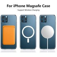 Klar Magnetische Macsafe Fall auf Für iPhone 11 12 Pro Max Mini XS X XR 8 Plus SE 2020 Magsafing zurück Abdeckung Stoßfest Stoßstange Shell