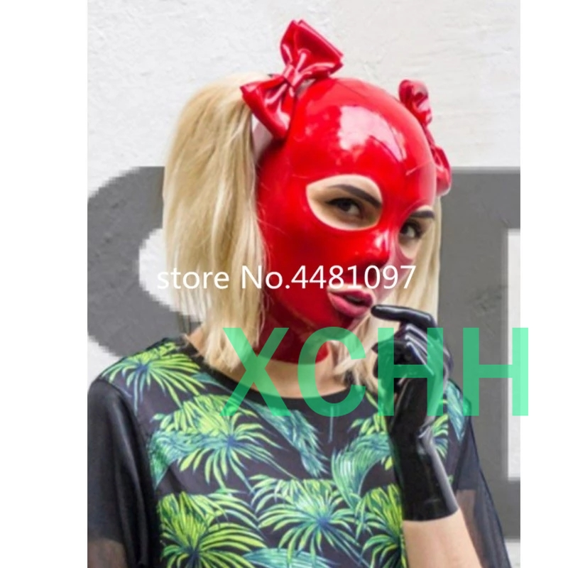 Latex Mask Rubber Unisex Hood with Wig Rubber Fetish Mask Two Braid Wigs Latex Headgear Sexy Cosplay Accessaries anime cosplay