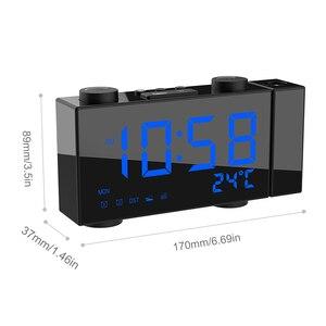 Image 5 - Цифровой будильник с проекцией FM радио, будильник с повтором сигнала, термометром, настольные часы с USB светодиодами, будильник, украшение для дома