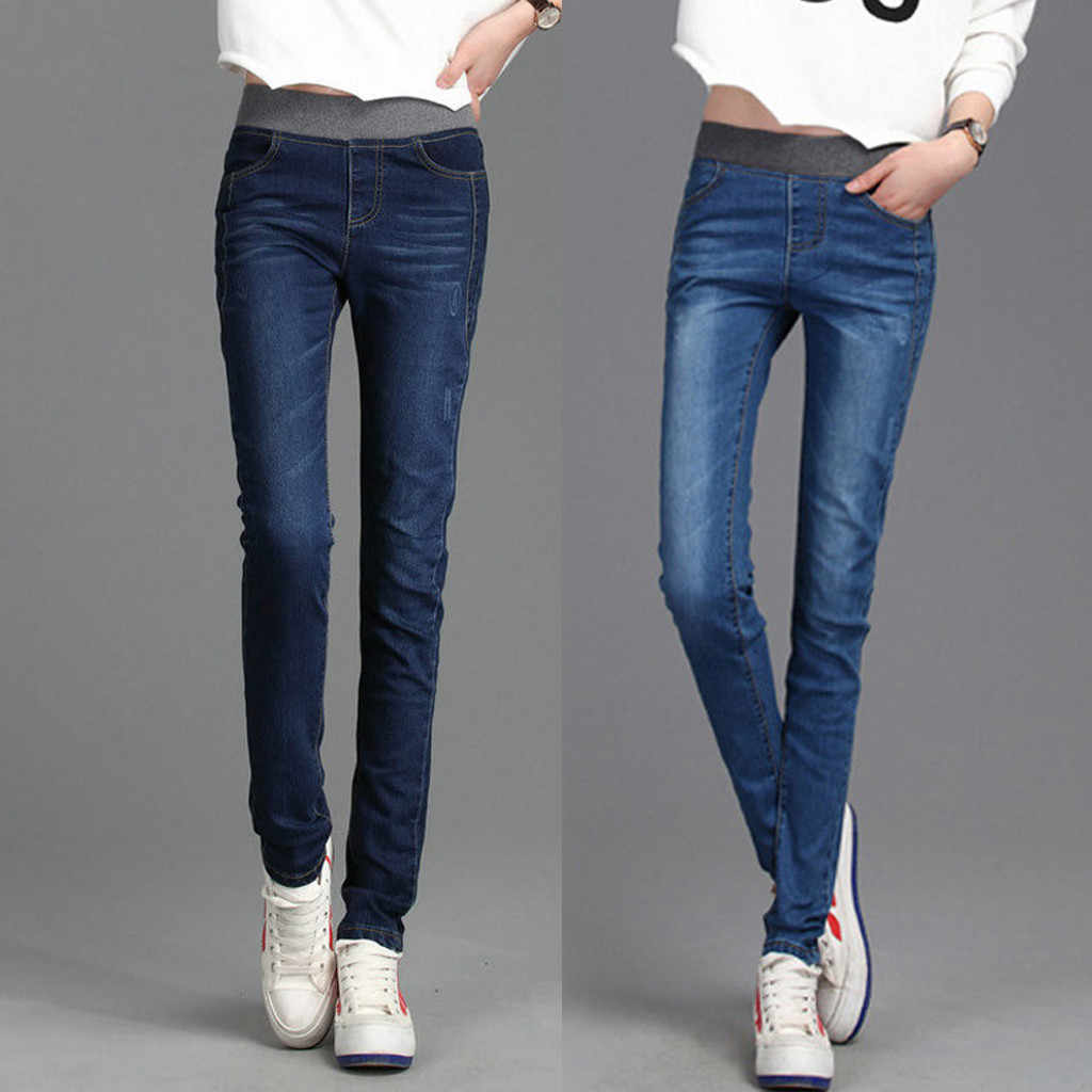 Velvet High Waist Jeans Women Pants Slim Elastic Warm Vintage Jean Femme Denim Pencil Pants 2019 Thick Skinny Jeans Winter#J30