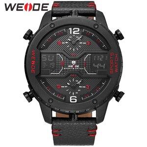 Image 2 - WEIDE mens Sports Analog Hands Digital numeral Calendar Quartz movement Brown Leather Strap Wristwatches 2019 Military Clock