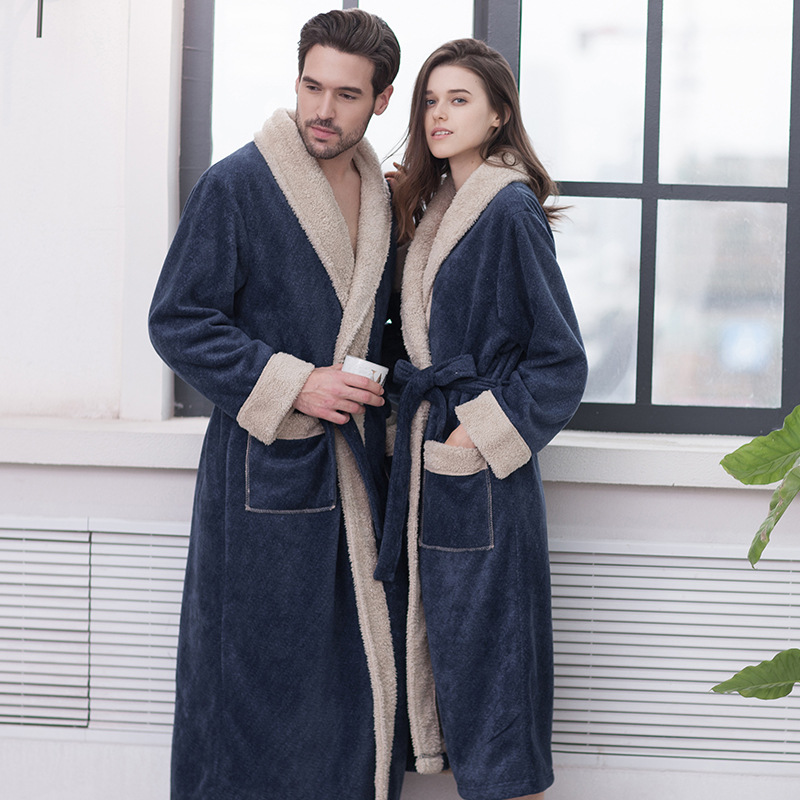 New Composite Fleece Winter Warm Bathrobe Men Women Extra Long Thick Warm Thermal Dressing Gown Homewear Bath Robes